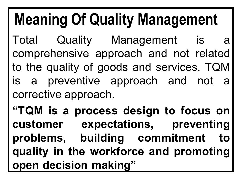 Total Quality Management Ppt Video Online Download