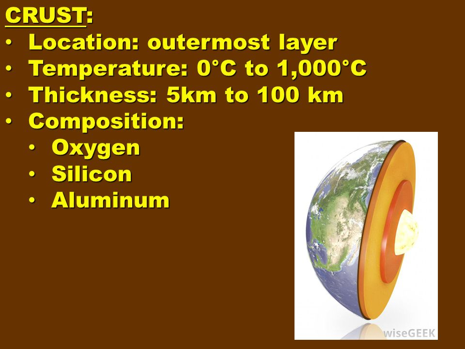 CRUST: Location: outermost layer. Temperature: 0°C to 1,000°C. Thickness: 5km to 100 km. Composition: