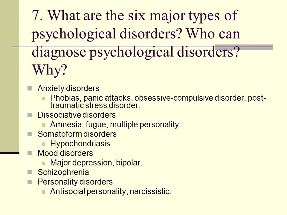 an analysis of the major classification of psychological disorders The classification and diagnosis is an important concern for both mental health providers and mental health clients while there is no single, definitive definition of mental disorders, some different classification and diagnostic criteria have emerged.