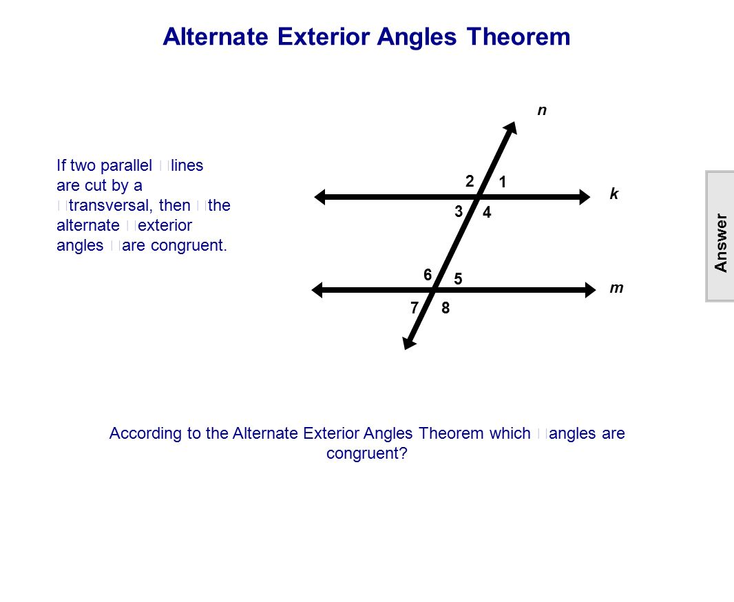 Worksheet parallel lines cut by transversal worksheet Alternate exterior angles conjecture