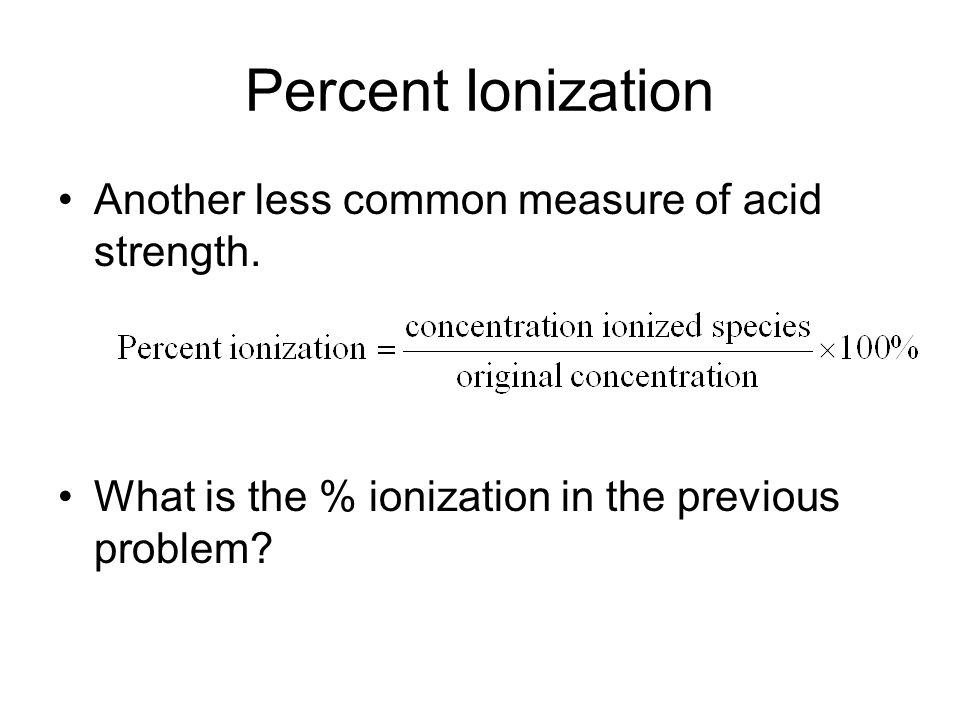 how to find percent ionization with ka