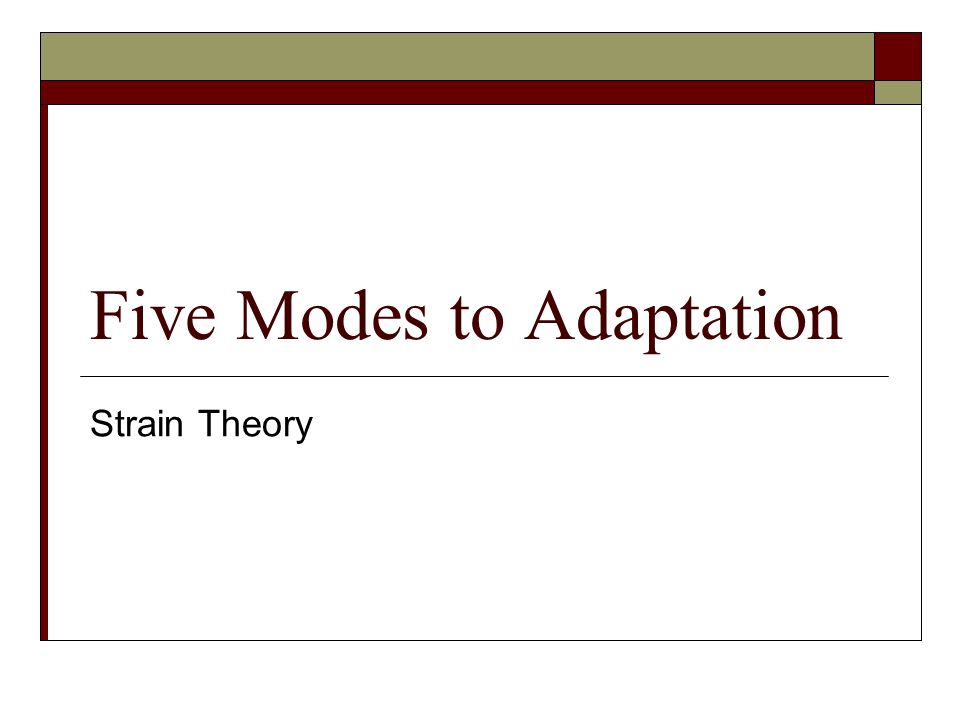merton five modes of adaptation To complement his theory, merton established five modes of adaptation of how an individual responds to the schism/chasm between societal goals and means where, the constructed 'american dream' ideal may produce strain for certain groups or individuals and lead to the attainment of culturally accepted read more.