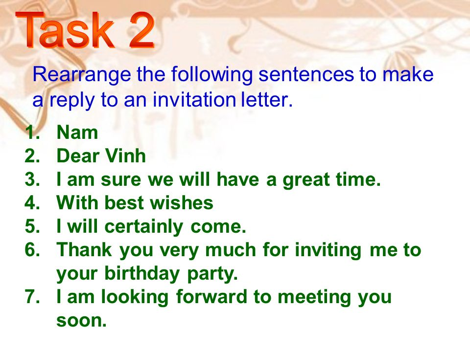 Welcome to our class ppt video online download task 2 rearrange the following sentences to make a reply to an invitation letter nam stopboris Image collections
