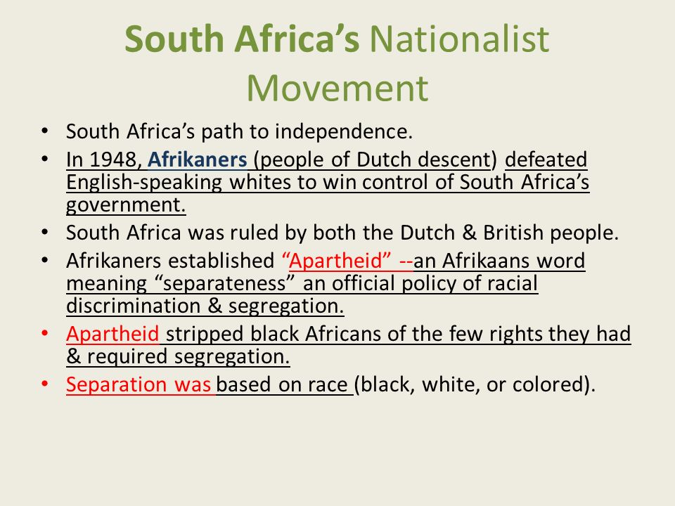 South Africa's Nationalist Movement