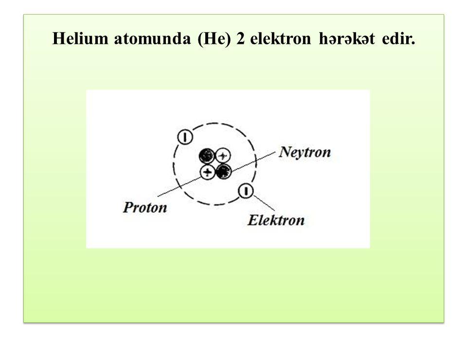 Helium atomunda (He) 2 elektron hərəkət edir.
