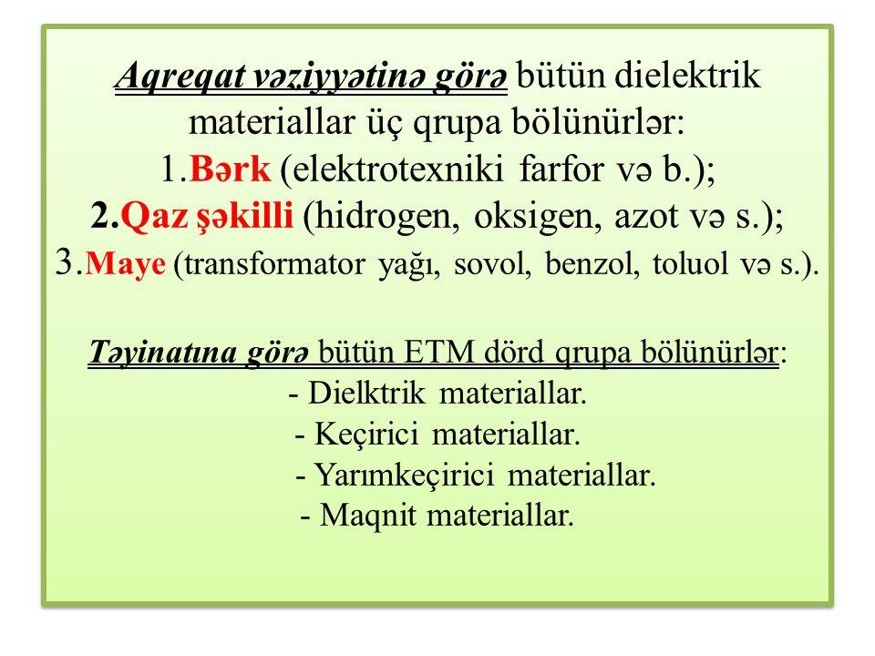 Aqreqat vəziyyətinə görə bütün dielektrik materiallar üç qrupa bölünürlər: 1.Bərk (elektrotexniki farfor və b.); 2.Qaz şəkilli (hidrogen, oksigen, azot və s.); 3.Maye (transformator yağı, sovol, benzol, toluol və s.).