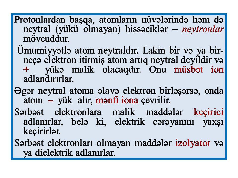 Protonlardan başqa, atomların nüvələrində həm də neytral (yükü olmayan) hissəciklər – neytronlar mövcuddur.