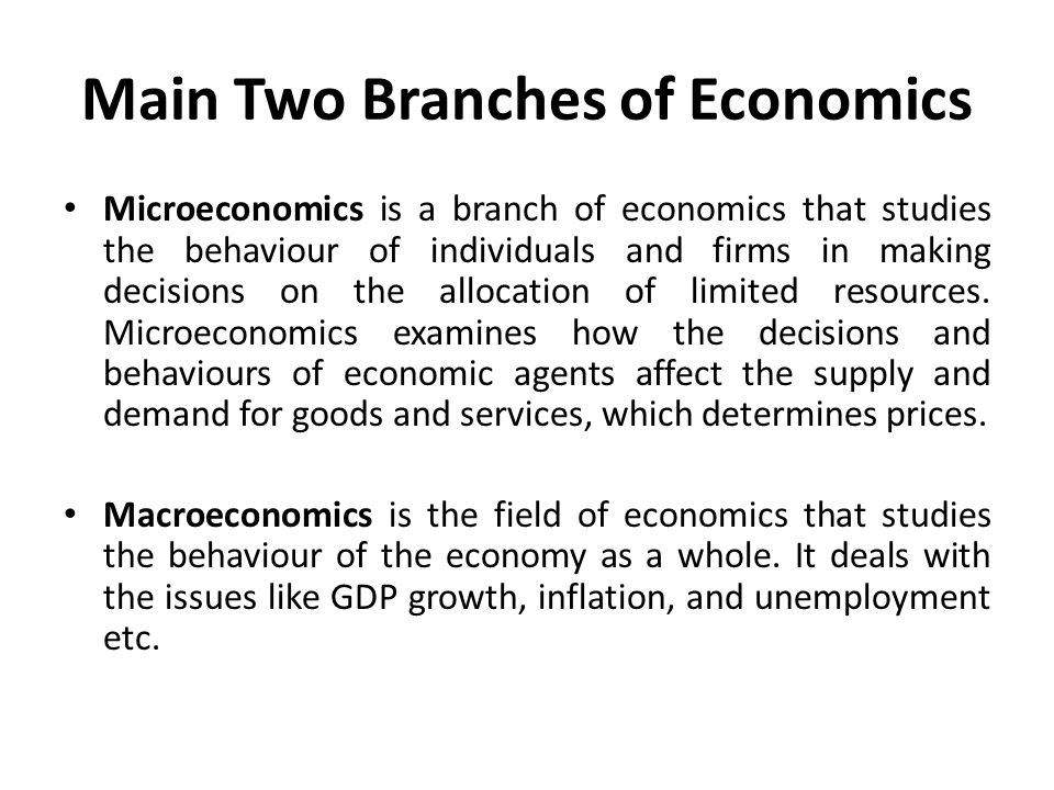 What are the different branches of economics? - Quora