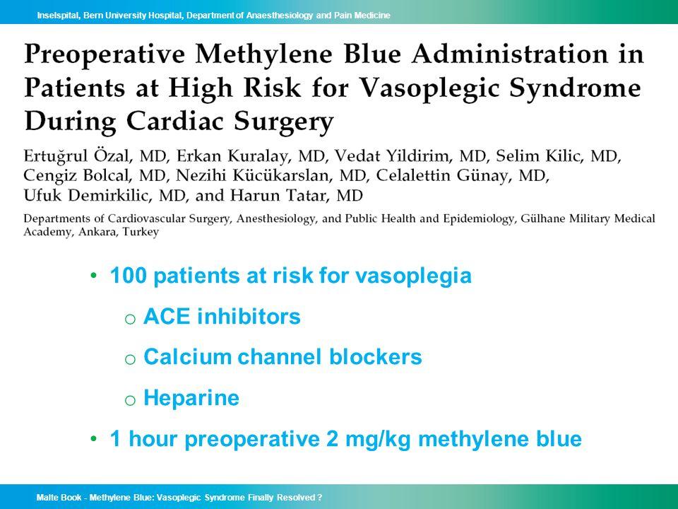 100 patients at risk for vasoplegia