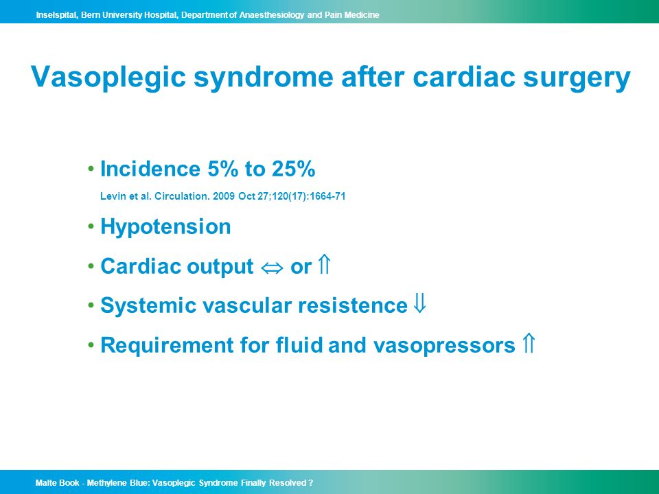 Vasoplegic syndrome after cardiac surgery