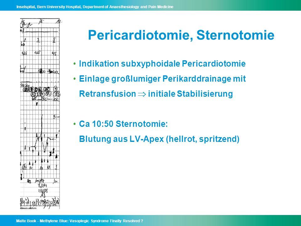 Pericardiotomie, Sternotomie