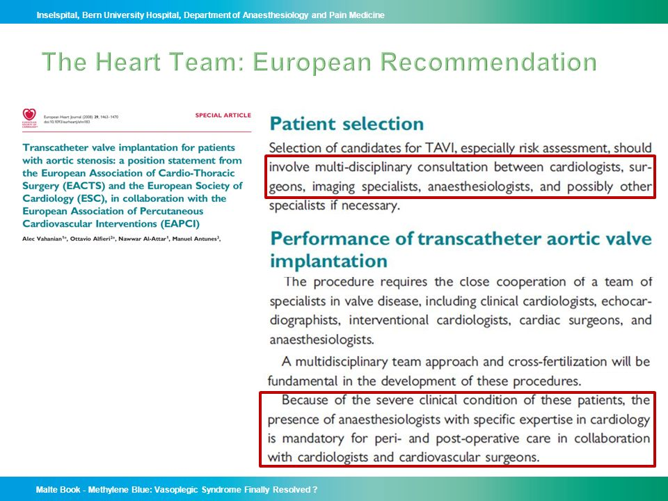 The Heart Team: European Recommendation
