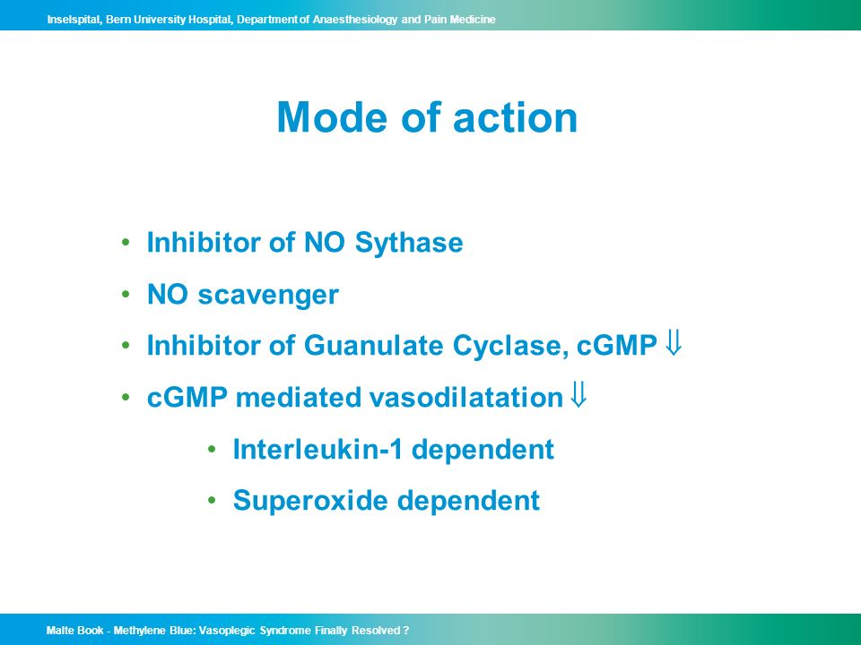 Mode of action Inhibitor of NO Sythase NO scavenger