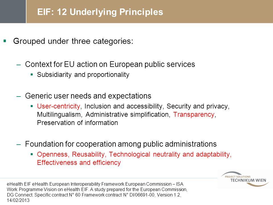 EIF: 12 Underlying Principles