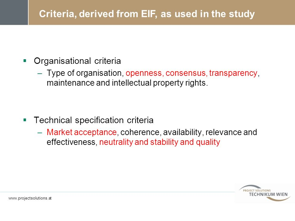 Criteria, derived from EIF, as used in the study