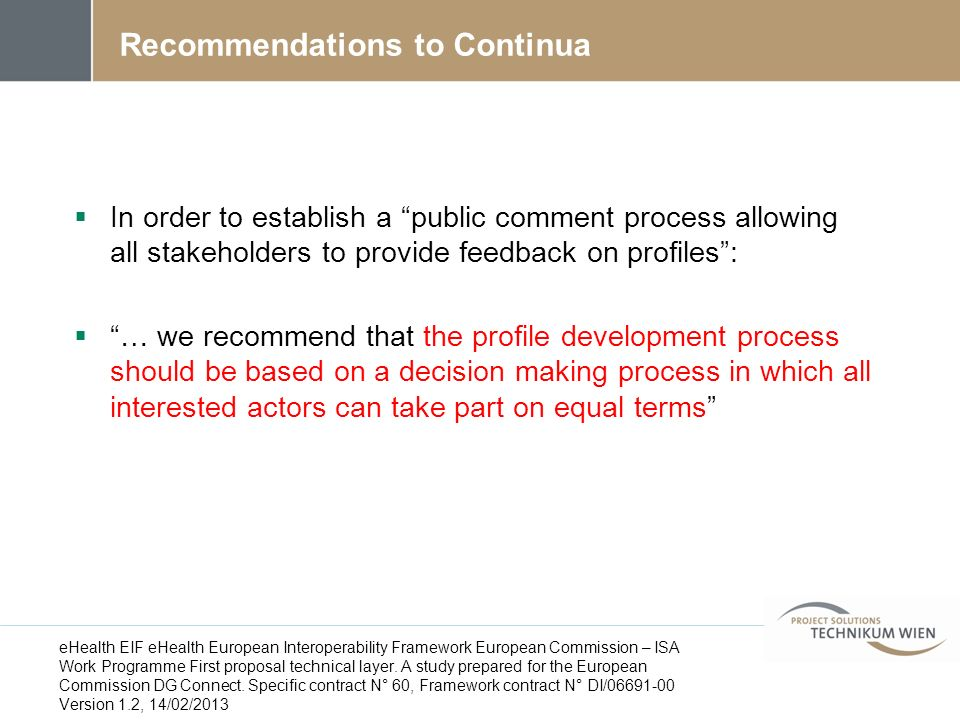 Recommendations to Continua
