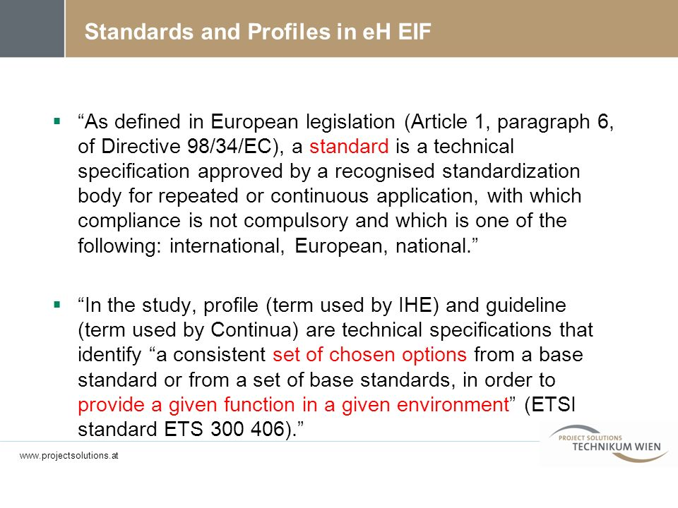 Standards and Profiles in eH EIF