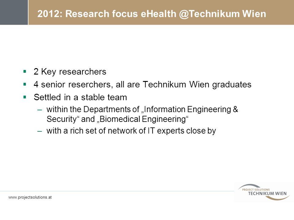 2012: Research focus eHealth @Technikum Wien