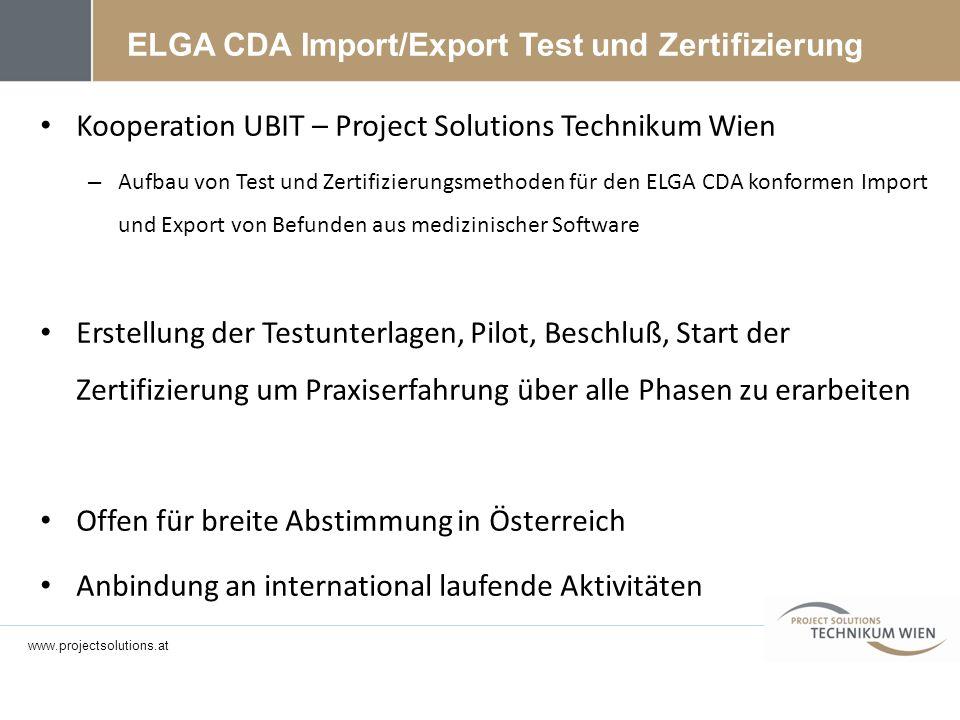 ELGA CDA Import/Export Test und Zertifizierung