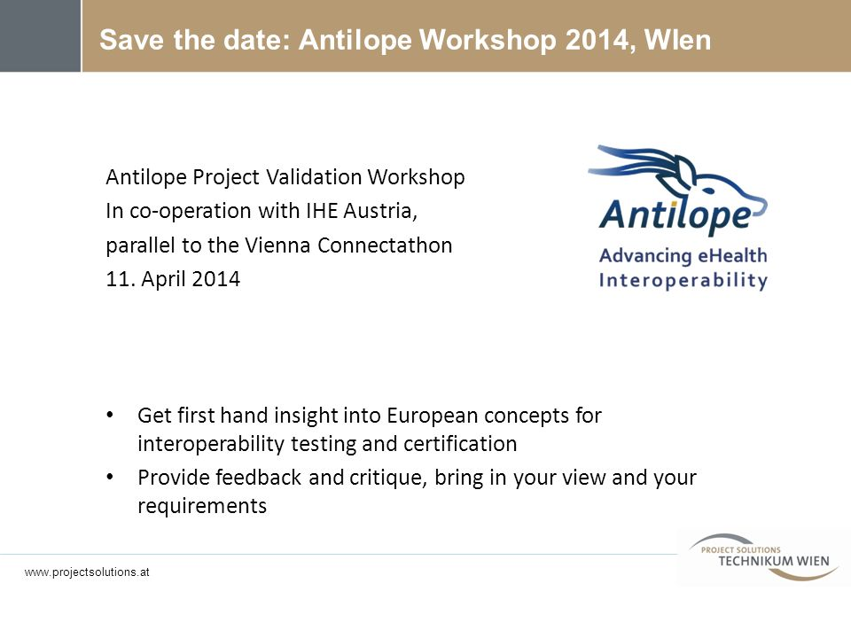 Save the date: Antilope Workshop 2014, WIen