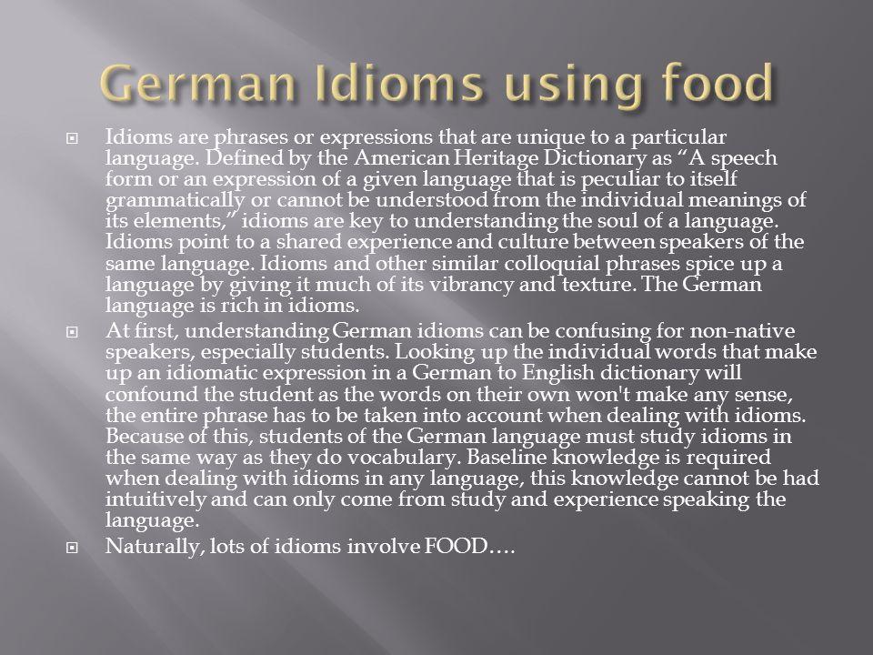 German Idioms using food