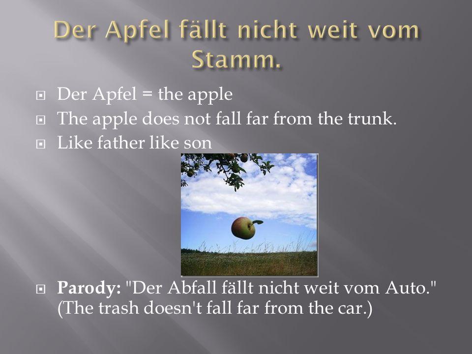 Der Apfel fällt nicht weit vom Stamm.