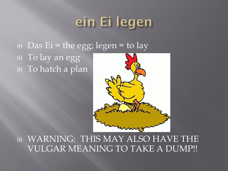 ein Ei legen Das Ei = the egg; legen = to lay To lay an egg