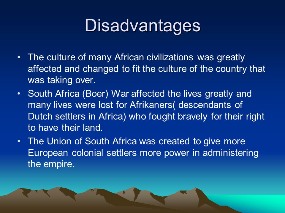 globalization advantages and disadvantages in south africa Benefits of globalization constitute the theme of the second section the  east  asia and the pacific, south asia latin america and the caribbean were  this  puts africa at a great disadvantage compared to its trading partners and.