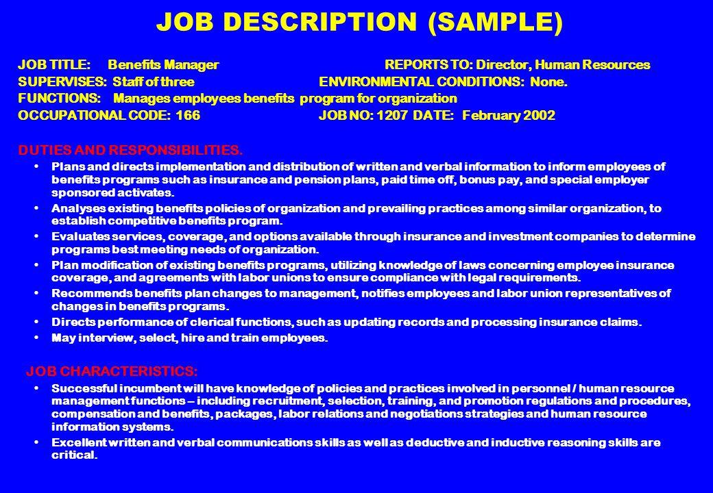 employment planning and job analysis