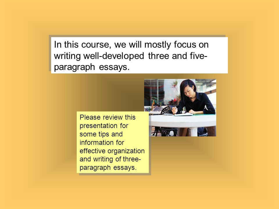 write a three paragraph essay The body of the essay will include three paragraphs (if this is a five-paragraph essay), each limited to one main idea that supports your thesis you should state your idea, then back it up with two or three sentences of evidence or examples.
