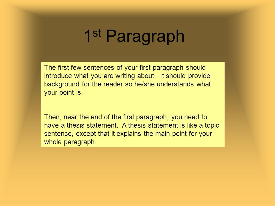 writing the first paragraph of an essay Introduction paragraphs it is true that the first impression—whether it's a first meeting with a person or the is narrow enough to write a focused essay.