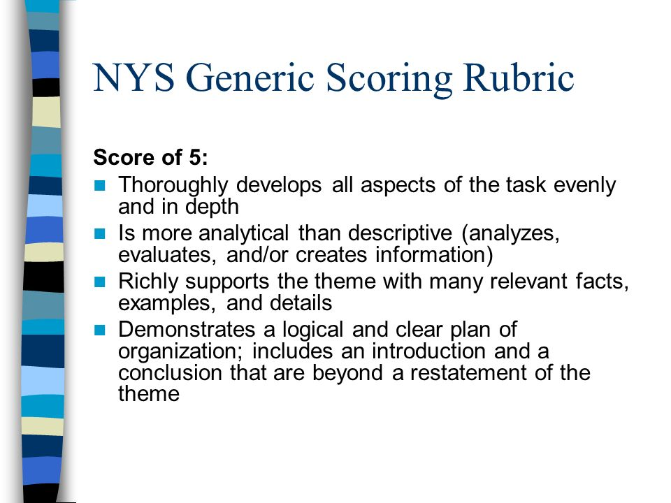 Thematic Essay Rubric Ny Regents Global