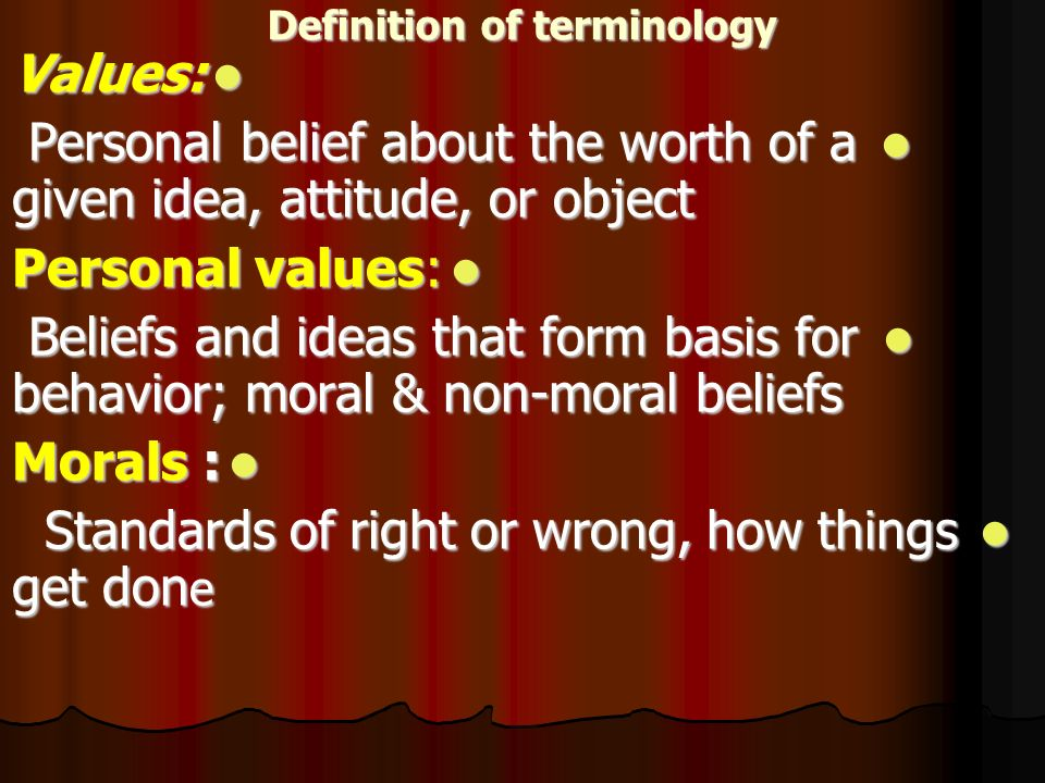 Definition of values morals and ethics in nursing