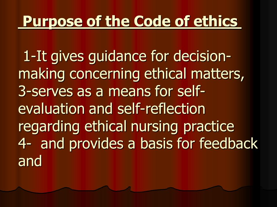 self reflection code of ethics Conduct or a code of ethics, terms that have significant differences a code of conduct sets out  reflection: the ability to be self-critical, the hallmark of teacher.