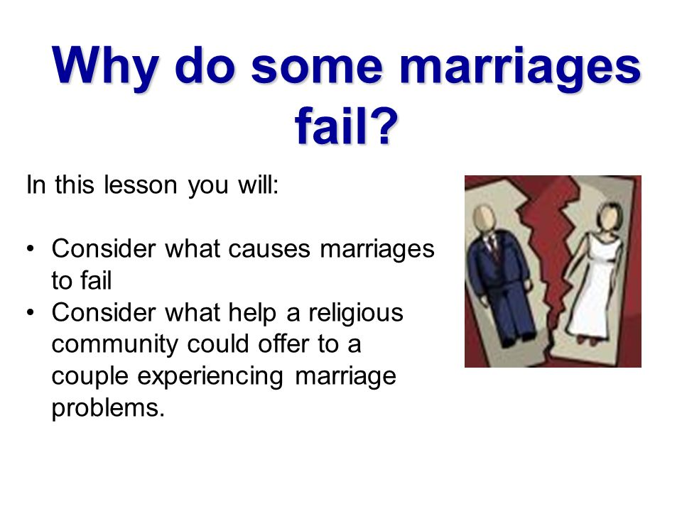 why do marriages fail #askdiane the question is - why do so many marriages fail diane's thoughts and an action step to take now so your relationship can succeed, whether you are.