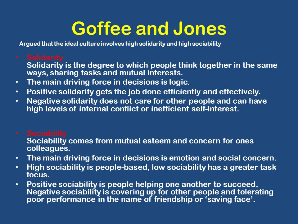 goffee and jones culture model Rob goffee and gareth jones, authors of why should anyone work here completed extensive research in writing this book their work is based on interviews, company workshops they have conducted and their consulting assignments.