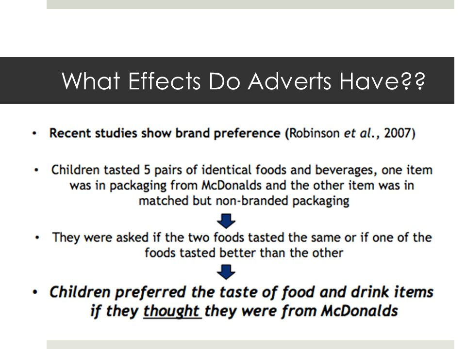 effect of television advertisements for foods on food consumption in children essay Search essay examples  get expert essay editing help upload your essay browse editors build your thesis statement argumentative compare and contrast  the reality of fast food and its effects on people in the united states 1,039 words 2 pages changing times in the fast food industry in united states of america.