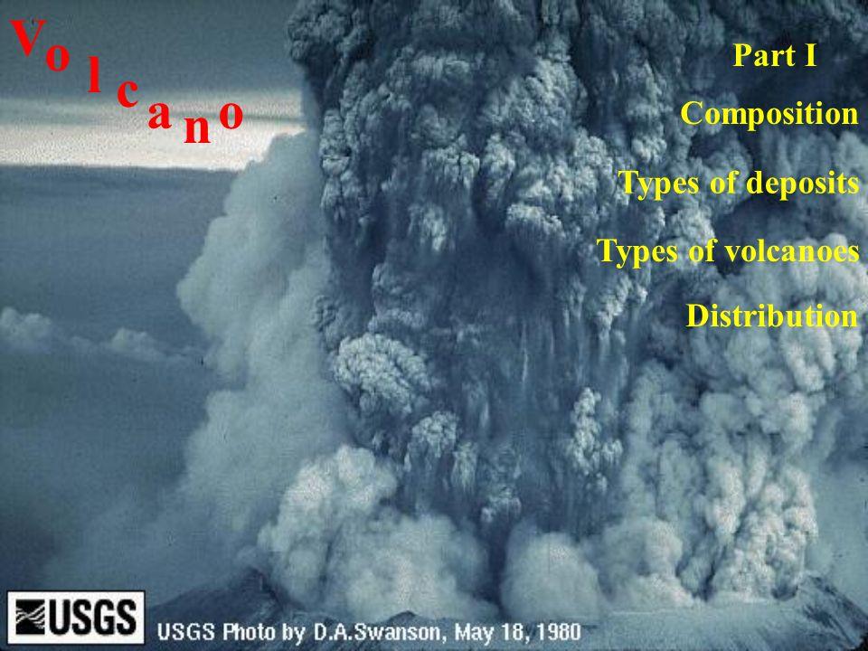 V o l c a o n Part I Composition Types of deposits Types of ...