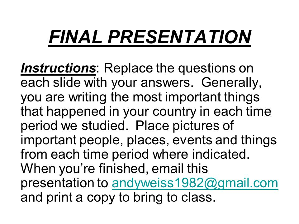 acct461 final course presentation instructions 2 Page 2 of 23 course description textbook readings and exercises but do not test all the course concepts the term and final for further instructions on.