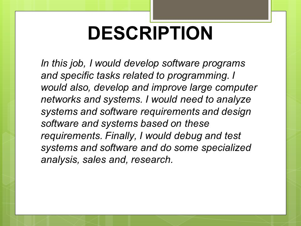 Senior Programmer Job Description. Its A Programmer And Systems ...