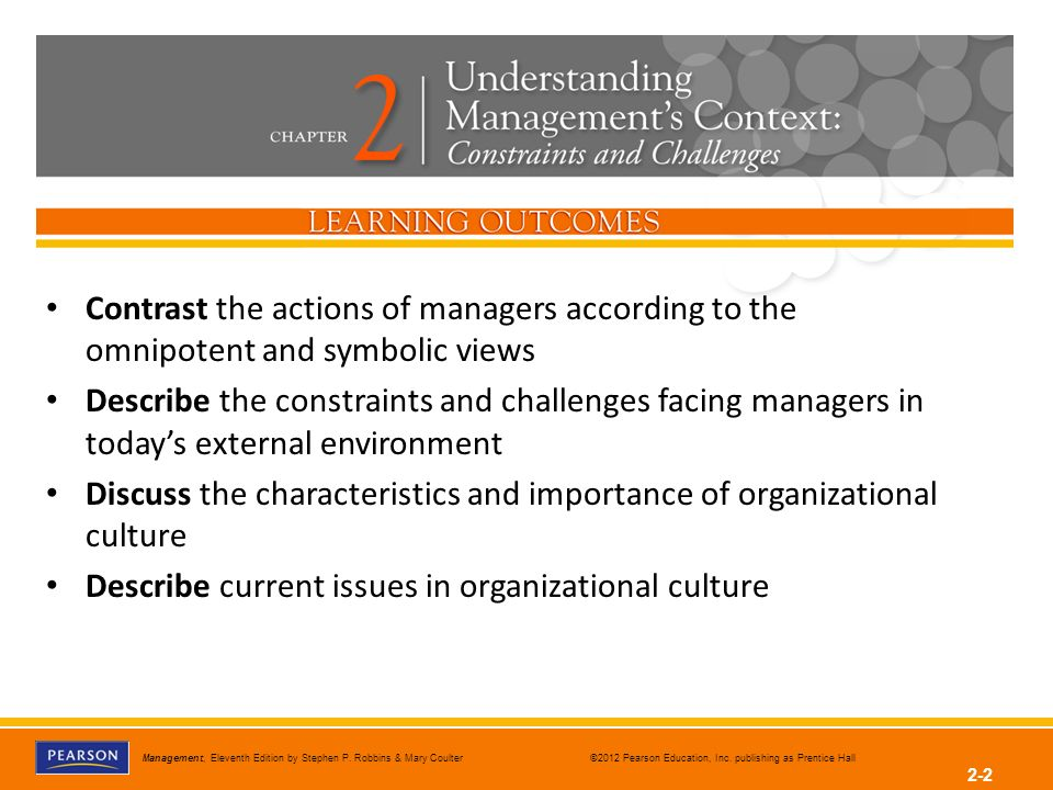 according to the omnipotent view In the omnipotent view of management, much of an organization's success or failure is due to forces outside  according to the symbolic view, managers have a(n .