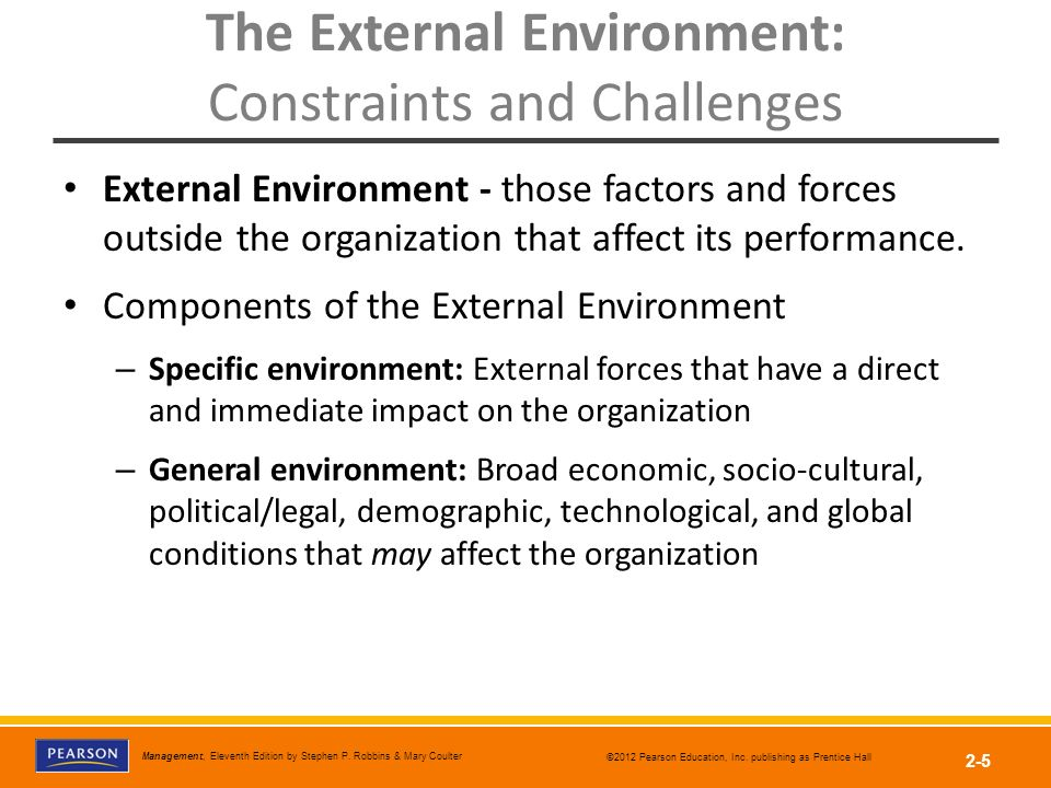 components of external environment The macro environment - six forces in the environment of a business written by maximilian claessens 26th february 2015 the company is not alone in doing business.