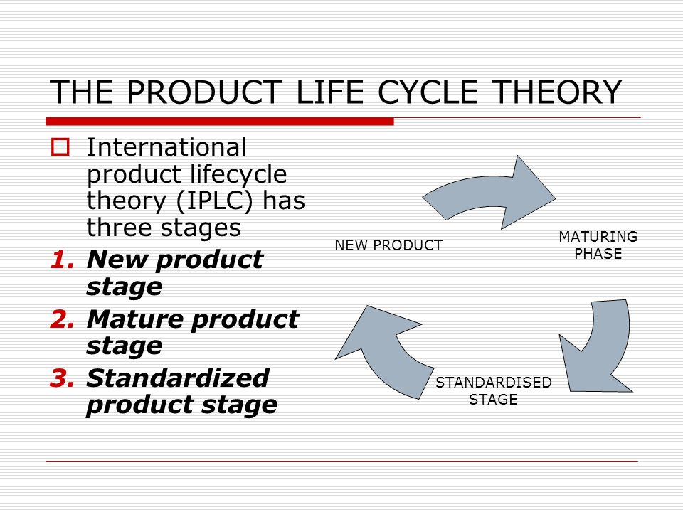 international product life cycle theory essay The product life cycle (plc) is based upon the biological life cycle for example , a  in theory it's the same for a product after a period of.