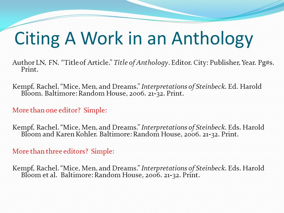 apa cite essay in anthology Anthologies are collections of multiple works -- either by the same author or  organized around the same theme how you cite an anthology in.