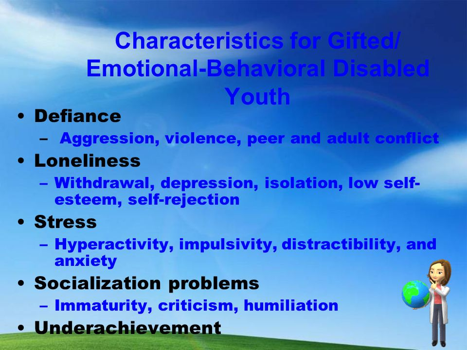 emotional behavioral and physical disabilities Chapter 3 – psychological/emotional conditions principles of caregiving: aging and physical disabilities 3-3 revised january 2011 a emotional impact of chronic disease or physical disability.