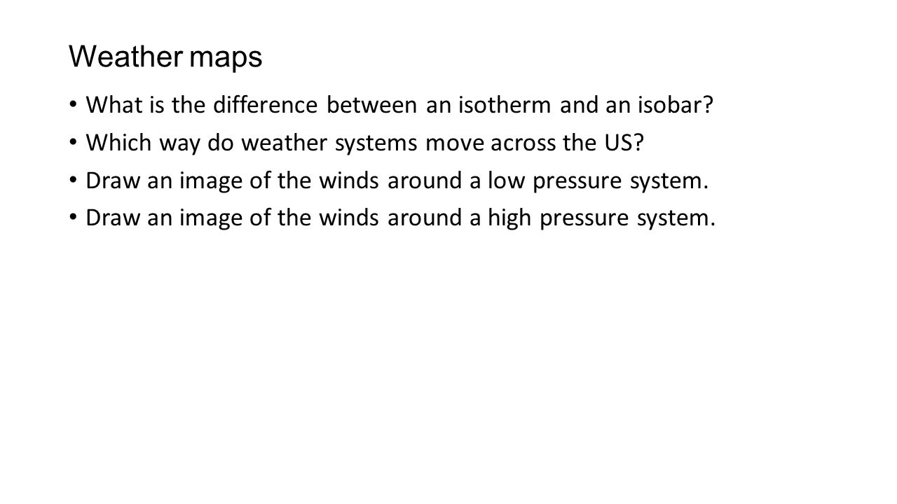 Air Pressure Questions Ppt Download - Us weather map with high and low pressure