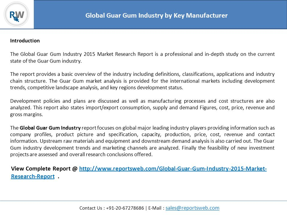 Global Guar Gum Industry 2015 Market Research Report - ppt download