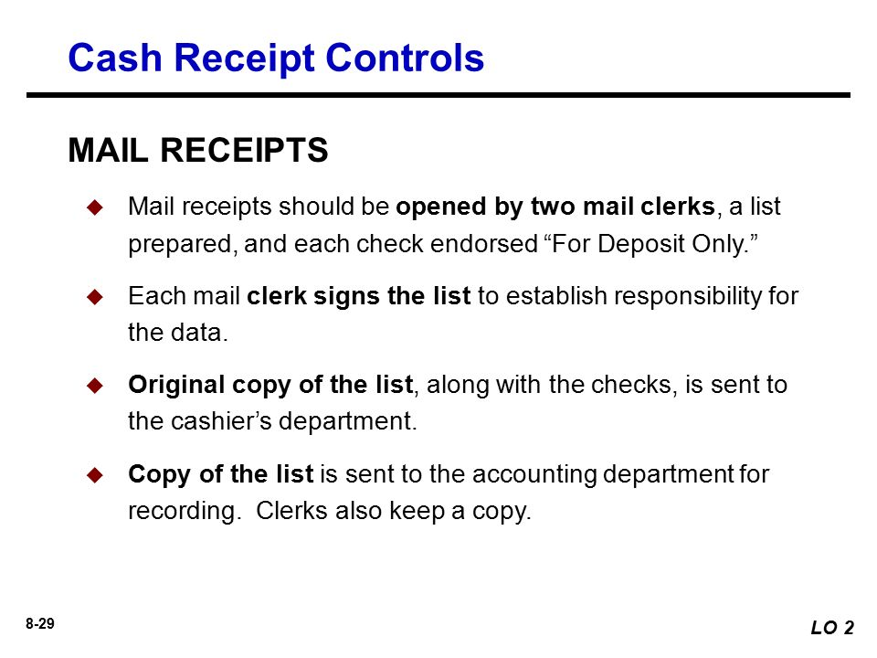 cashdisbursement receiptcontrols Internal control procedures for the receipt of cash help your small business prevent loss due to employee fraud and accounting errors these controls are intended to limit access to cash to.
