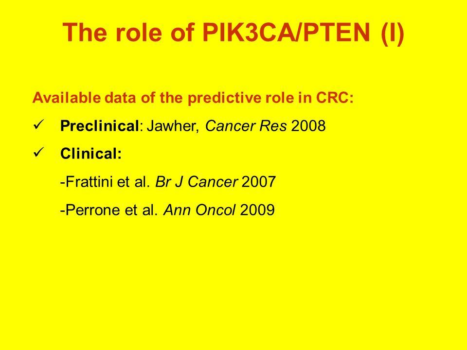 The role of PIK3CA/PTEN (I)