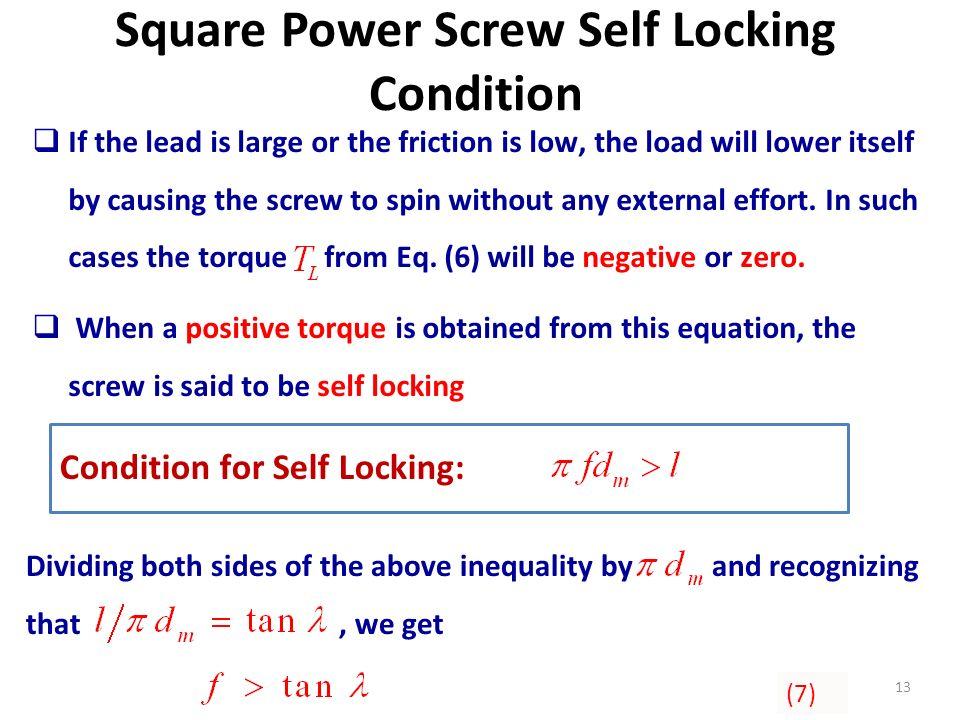 Square Power Screw Self Locking Condition